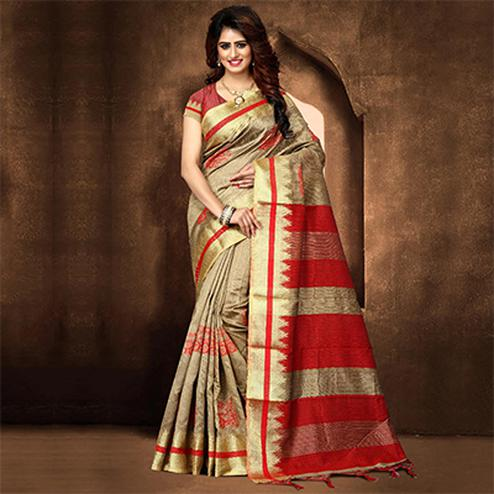Graceful Beige Colored Festive Wear Weaving Poly Cotton Saree