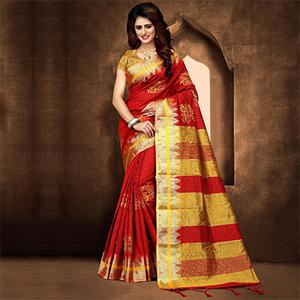 Trendy Red Colored Festive Wear Weaving Poly Cotton Saree