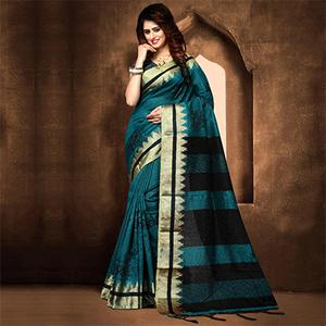 Pretty Dark Turquoise Blue Colored Festive Wear Weaving Poly Cotton Saree