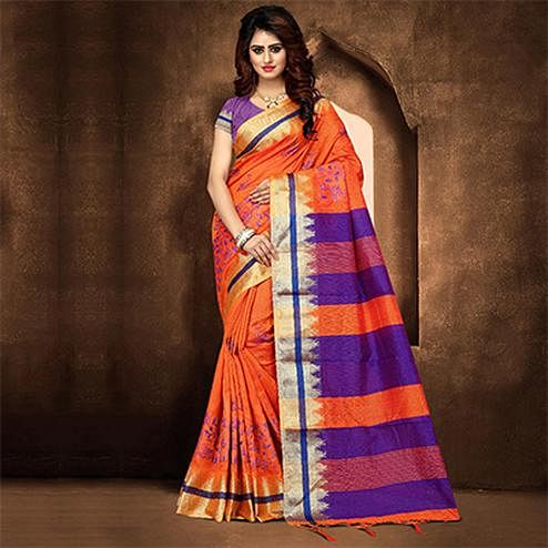 Classy Orange Colored Festive Wear Weaving Poly Cotton Saree