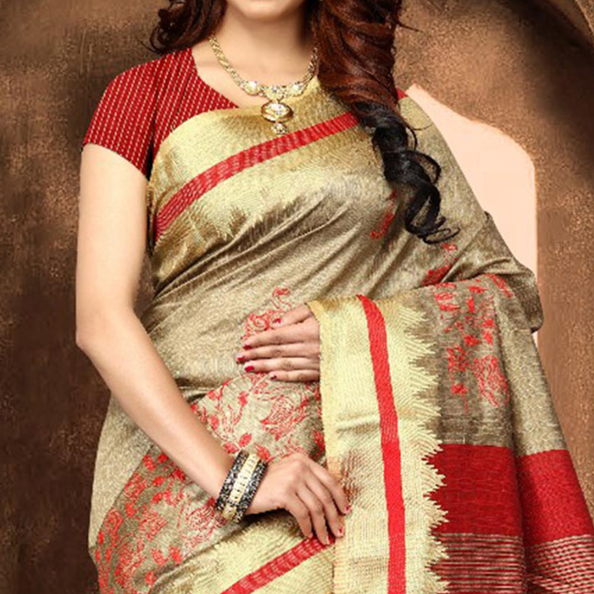 Gorgeous Beige Colored Festive Wear Weaving Poly Cotton Saree