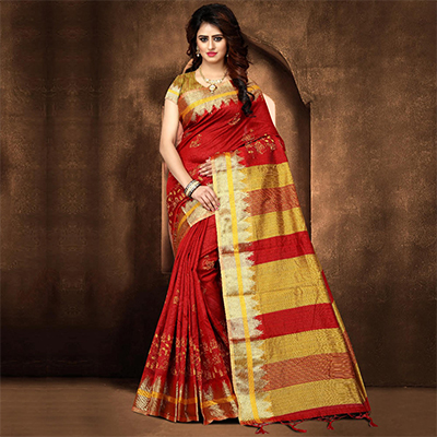 Adorning Red Colored Festive Wear Weaving Poly Cotton Saree