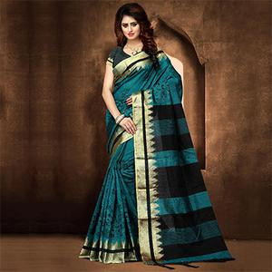 Snazzy Dark Turquoise Blue Colored Festive Wear Weaving Poly Cotton Saree