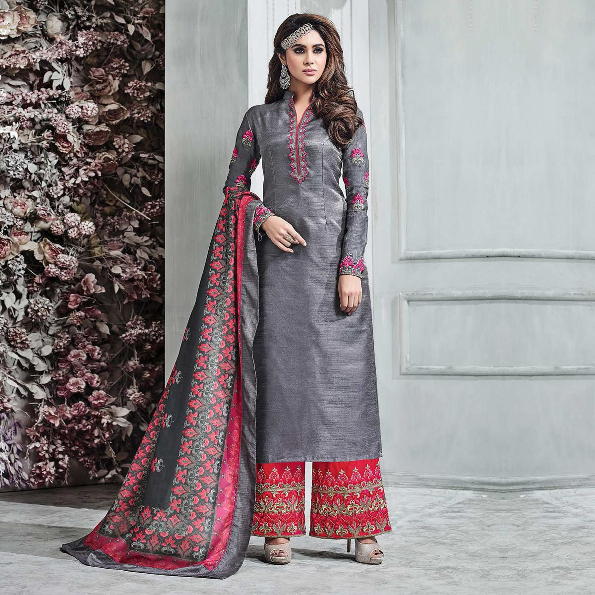 f690326146 Buy Aspiring Gray-Red Colored Partywear Embroidered Banarasi Silk Palazzo  Suit for womens online India, Best Prices, Reviews - Peachmode
