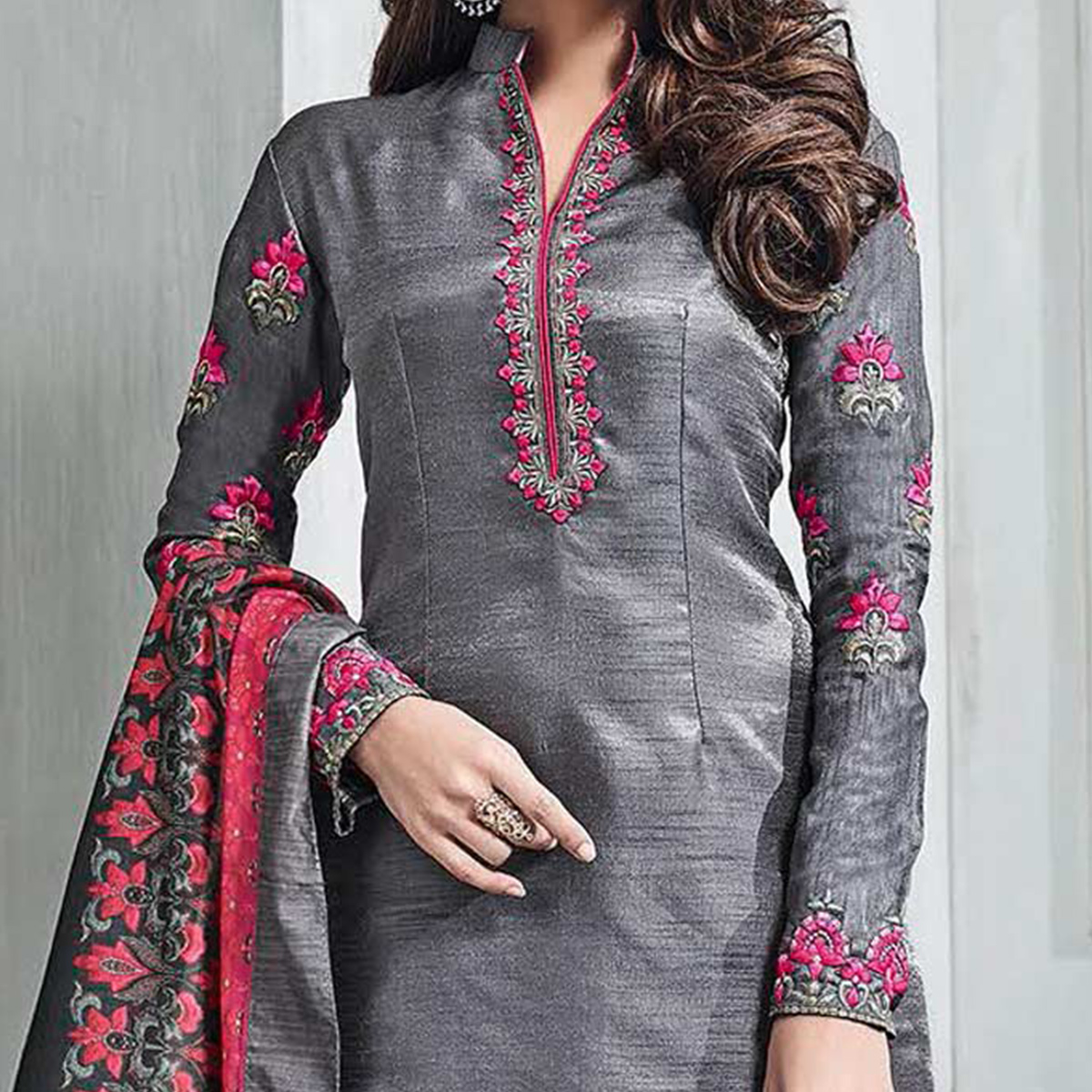Aspiring Gray-Red Colored Partywear Embroidered Banarasi Silk Palazzo Suit
