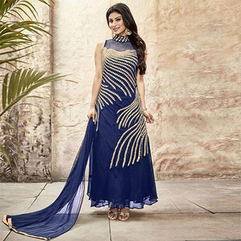 Blue Georgette Embroidered Gown