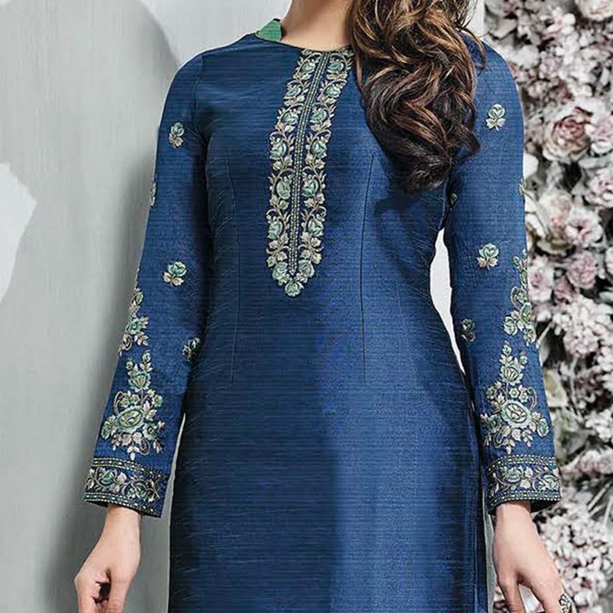 Engrossing Blue-Gray Colored Partywear Embroidered Banarasi Silk Palazzo Suit
