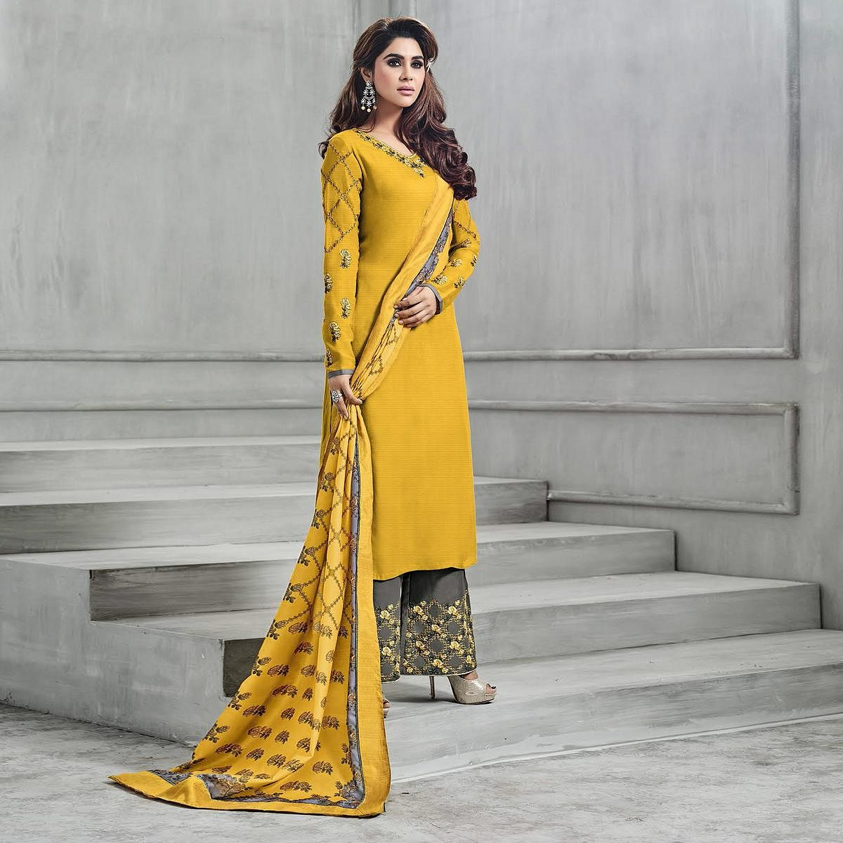 Glorious Yellow-Gray Colored Partywear Embroidered Banarasi Silk Palazzo Suit