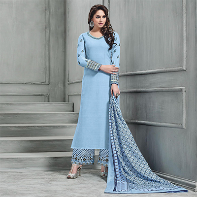 Extraordinary Sky Blue Colored Partywear Embroidered Banarasi Silk Palazzo Suit
