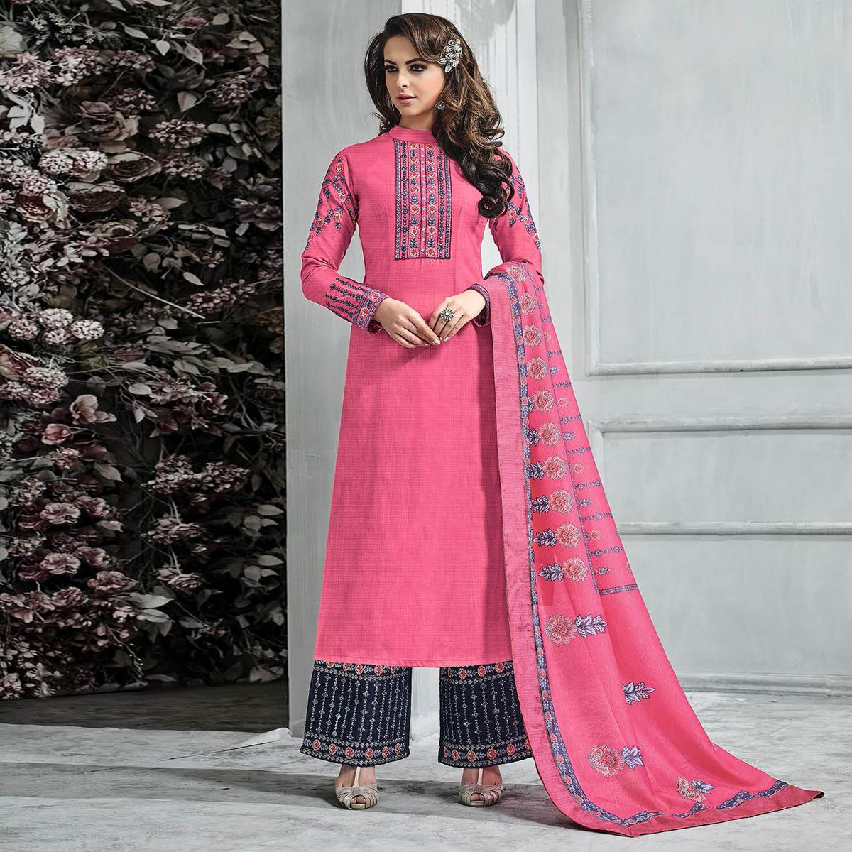 Breathtaking Pink-Blue Colored Partywear Embroidered Banarasi Silk Palazzo Suit