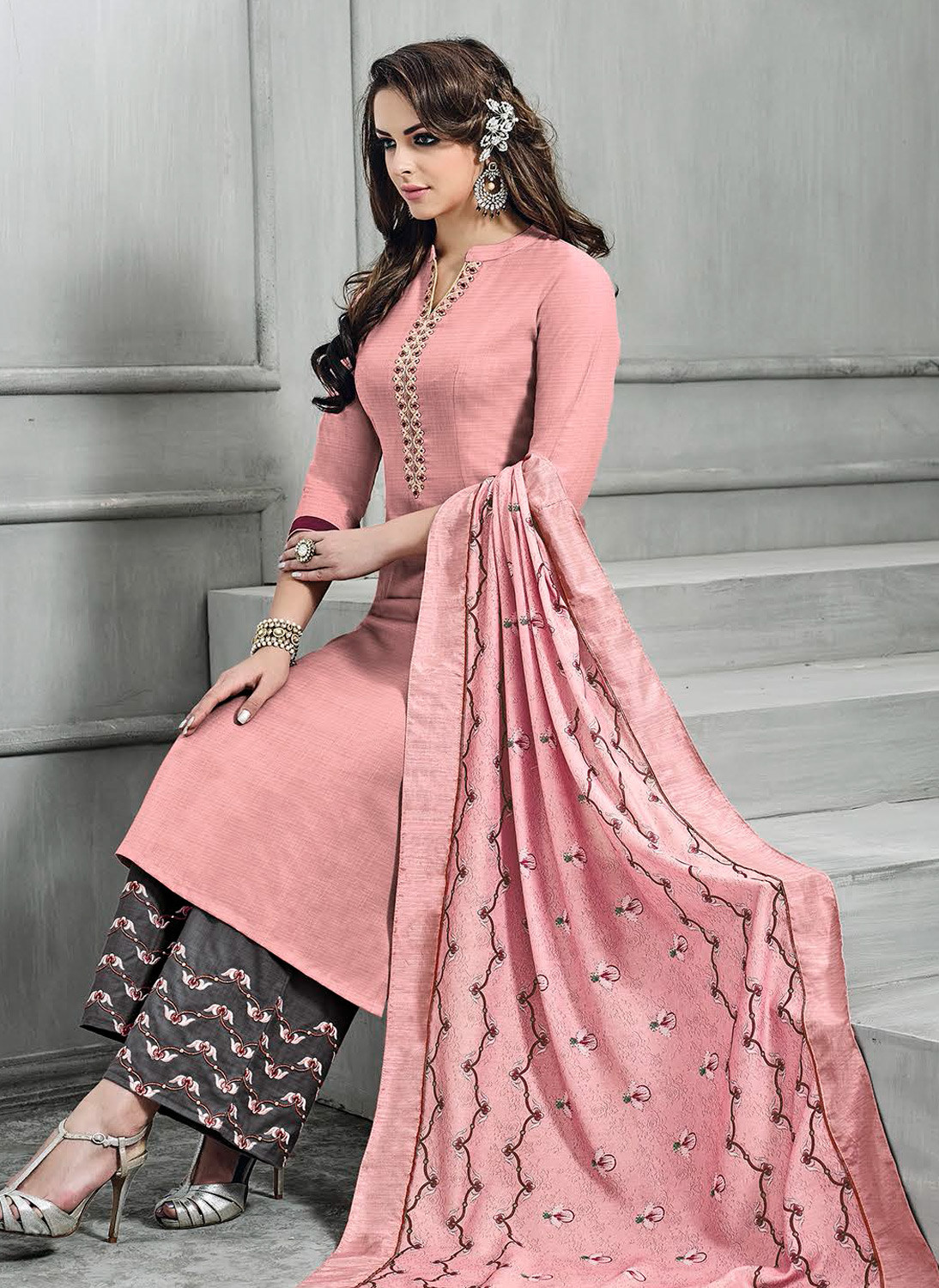 Awesome Peach-Gray Colored Partywear Embroidered Banarasi Silk Palazzo Suit