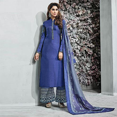 Deserving Blue Colored Partywear Embroidered Banarasi Silk Palazzo Suit