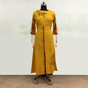 Trendy Yellow Colored Partywear Embroidered Rayon Cotton Long Kurti
