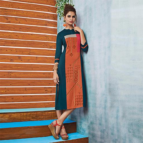 Orange-Rama Colored Casual Printed Viscose Slub Kurti