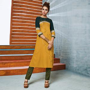 Yellow Colored Casual Printed Viscose Slub Kurti