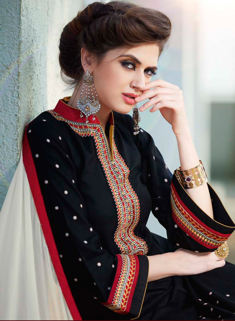 Black Cotton Embroidered Dress Material