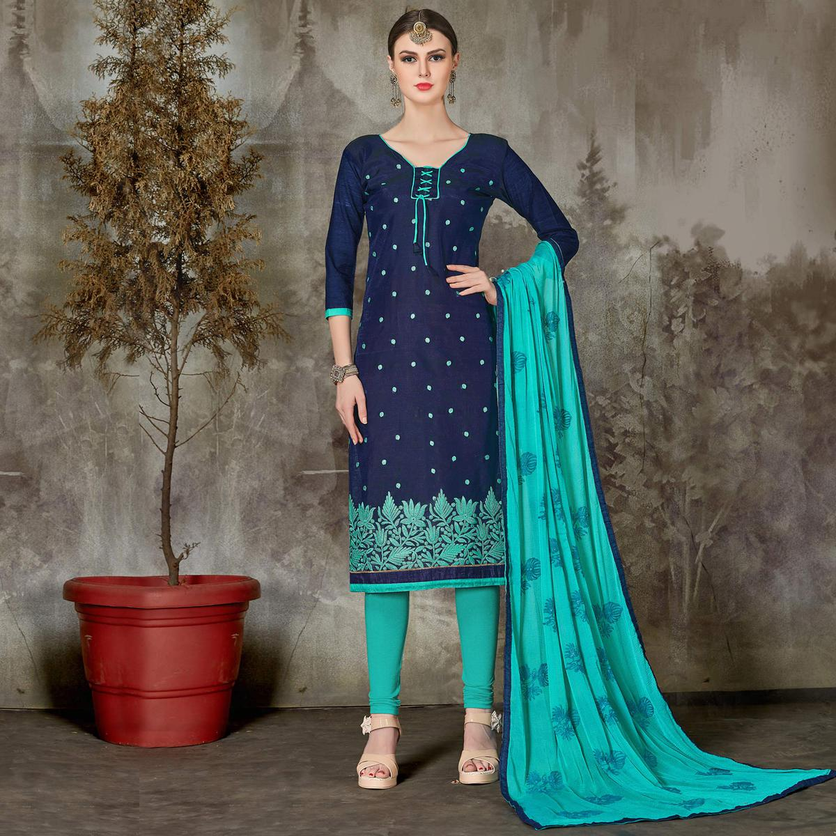 Elegant Navy Blue Colored Casual Embroidered Chanderi Silk Suit