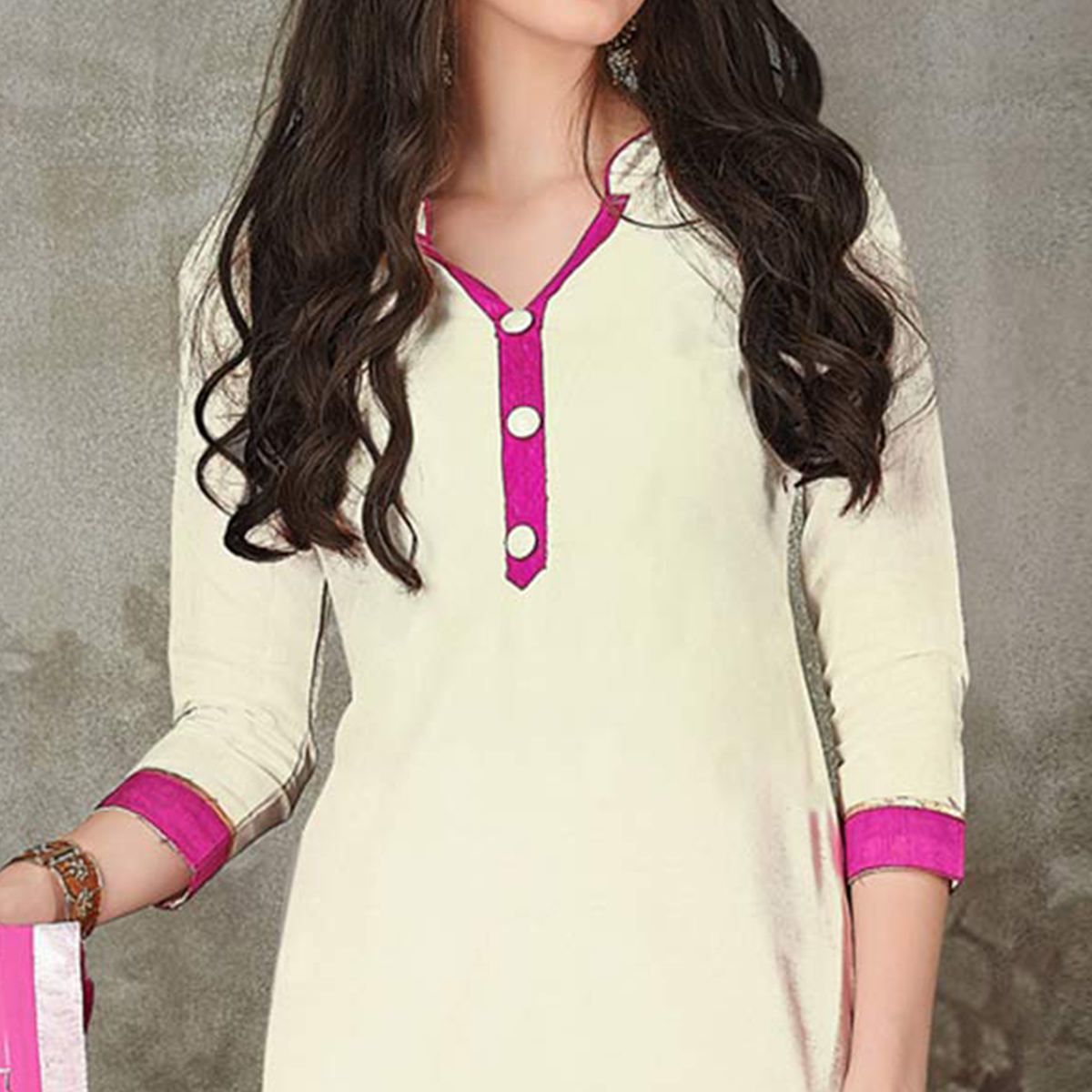 Flirty Cream-Pink Colored Casual Embroidered Chanderi Silk Suit