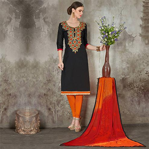 Attractive Black Colored Casual Embroidered Chanderi Silk Suit