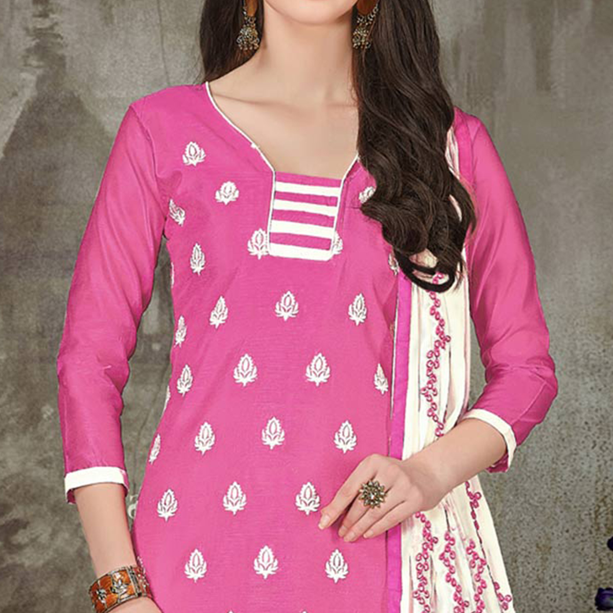 Desirable Pink Colored Casual Embroidered Chanderi Silk Suit