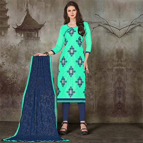 Demanding Aqua Green Colored Casual Embroidered Chanderi Silk Suit