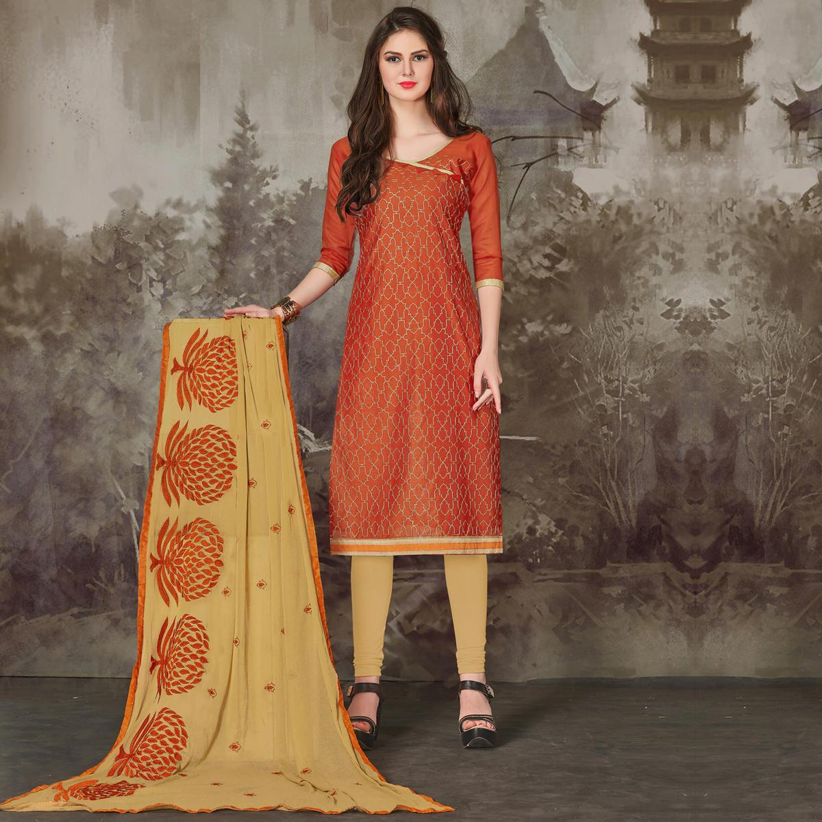 Eye-Catching Orange Colored Casual Embroidered Chanderi Silk Suit