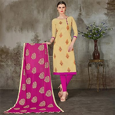 Impressive Beige-Pink Colored Casual Embroidered Chanderi Silk Suit