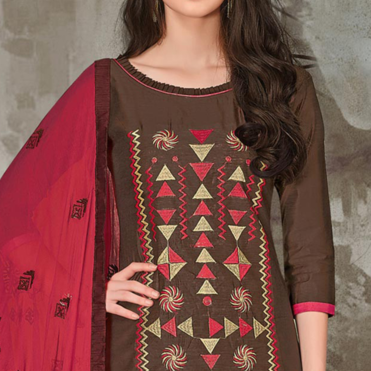 Refreshing Brown-Pink Colored Casual Embroidered Chanderi Silk Suit