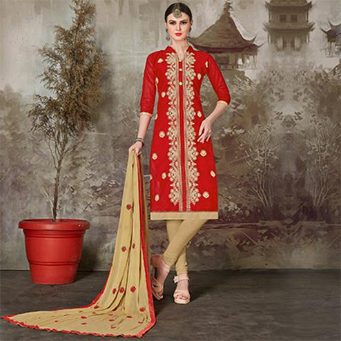 Trendy Red Colored Casual Embroidered Chanderi Silk Suit