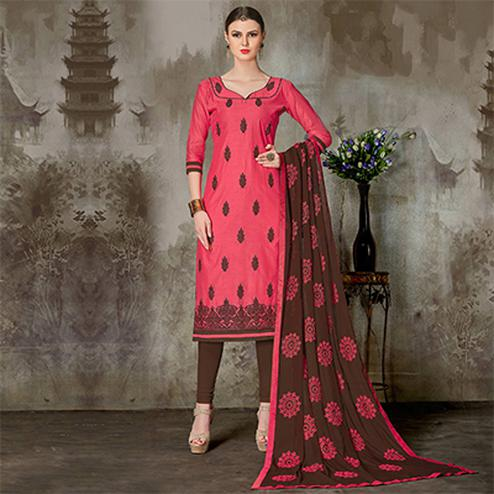 Pretty Pink Colored Casual Embroidered Chanderi Silk Suit