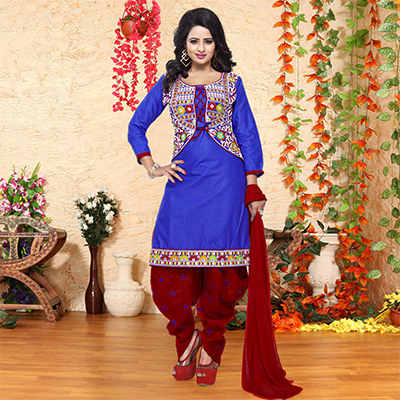 Blue Cotton Embroidered Dress Material