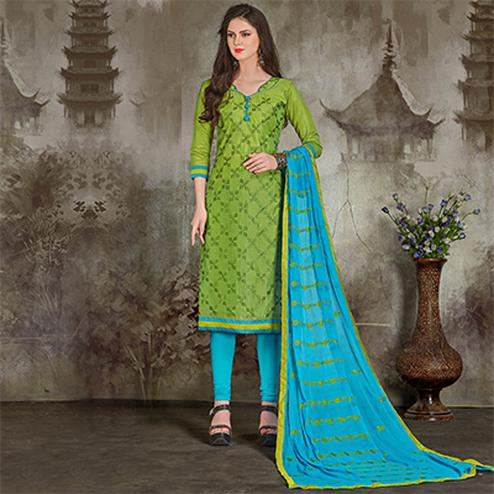Mystic Green-Blue Colored Casual Embroidered Chanderi Silk Suit