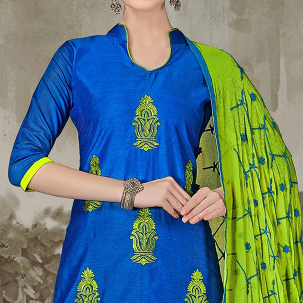 Dazzling Royal Blue Colored Casual Embroidered Chanderi Silk Suit