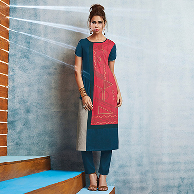 Blue-Pink Colored Casual Printed Viscose Slub Kurti