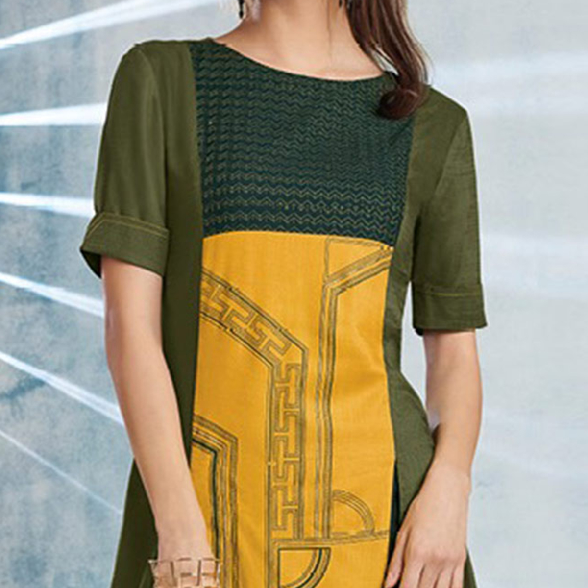 Yellow-Olive Colored Casual Printed Viscose Slub Kurti