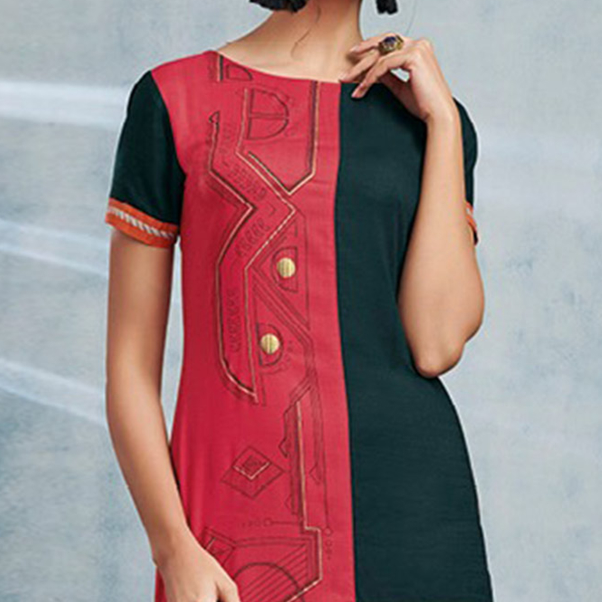 Pink-Rama Green Colored Casual Printed Viscose Slub Kurti