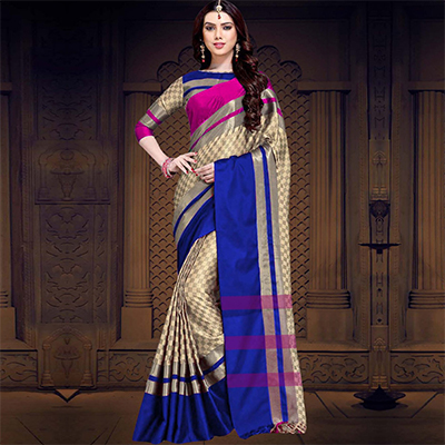 Desiring Pink-Blue Colored Casual Printed Cotton Silk Saree
