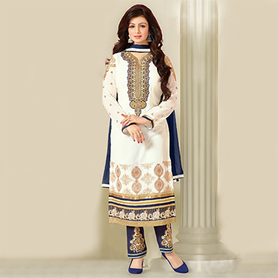 White Georgette Embroidered Salwar Suit