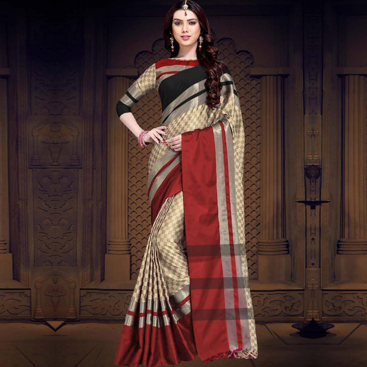 Eye-Catching Black-Red Colored Casual Printed Cotton Silk Saree