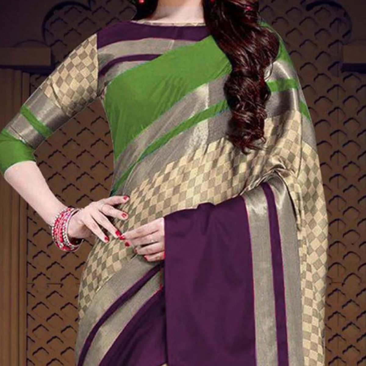 Refreshing Green-Purple Colored Casual Printed Cotton Silk Saree