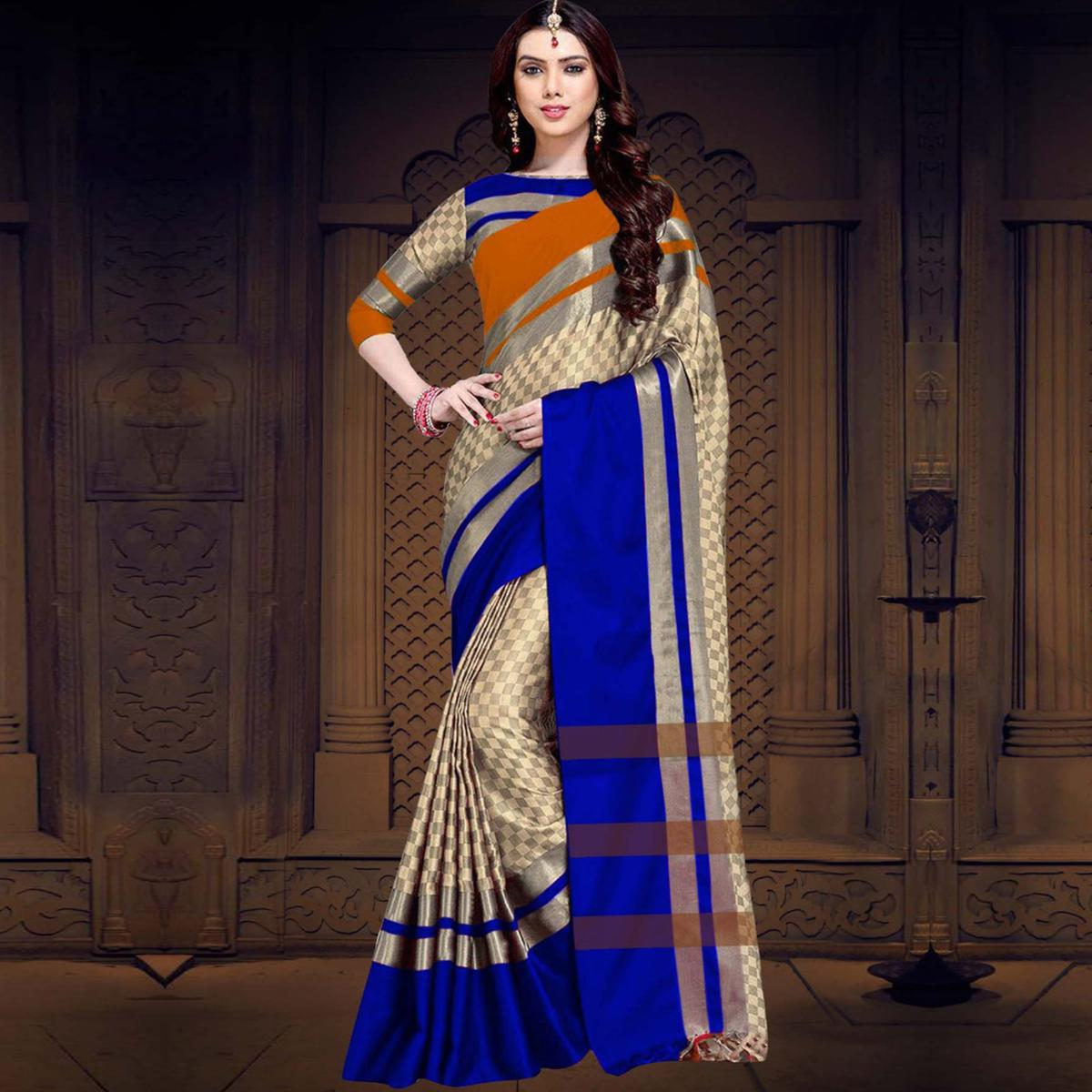 Attractive Yellow-Blue Colored Casual Printed Cotton Silk Saree
