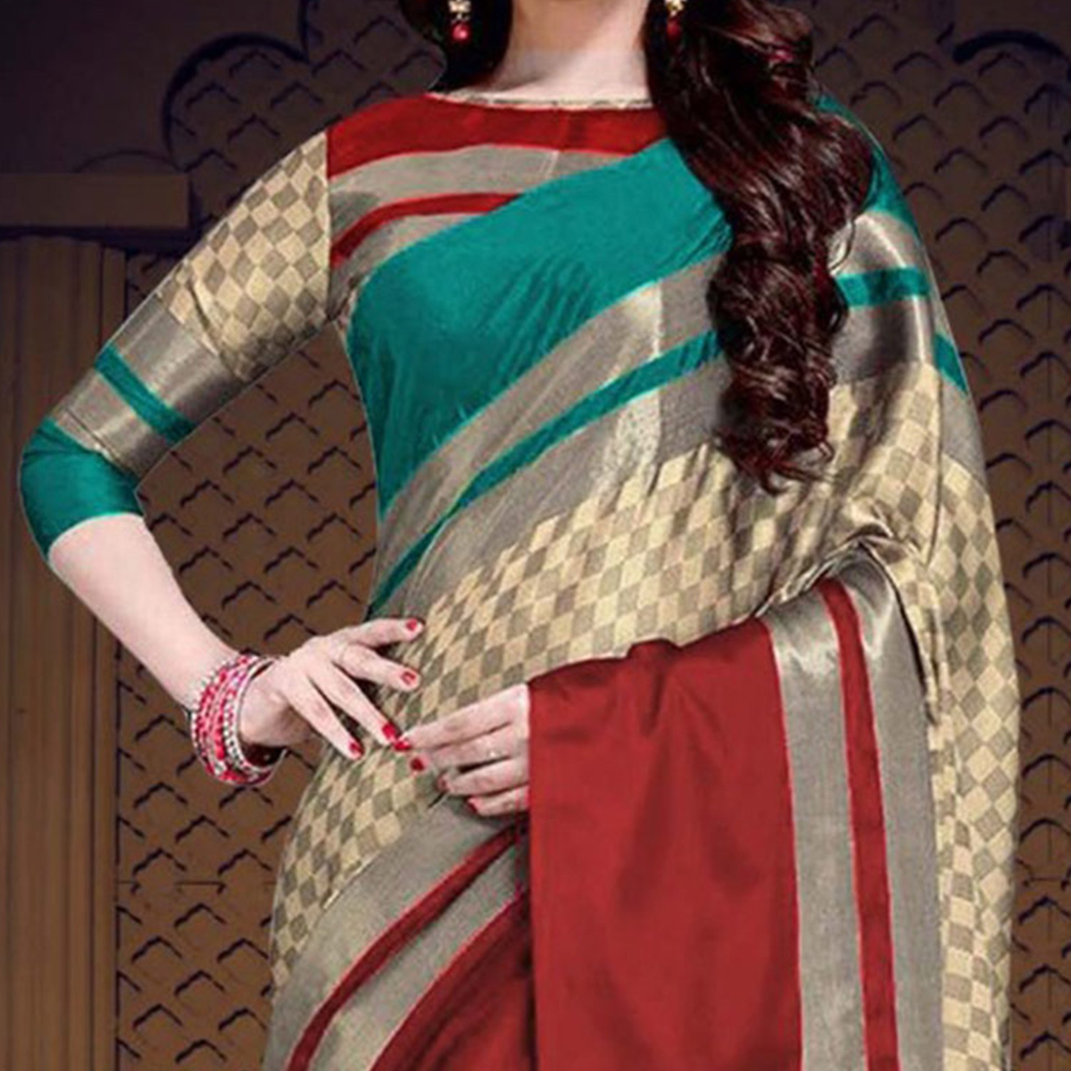 Unique Turquoise Green-Red Colored Casual Printed Cotton Silk Saree