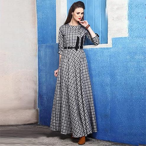 Smart Grey Colored Checked Cotton Silk Kurti