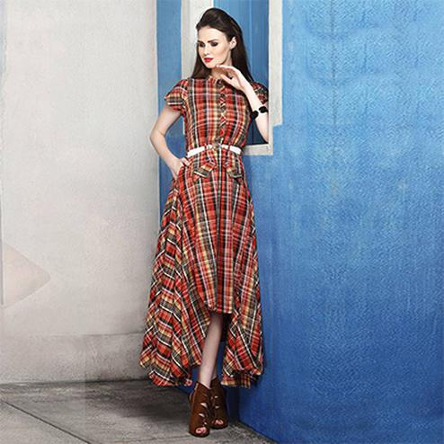 Deserving Red Colored Checked Cotton Silk Kurti