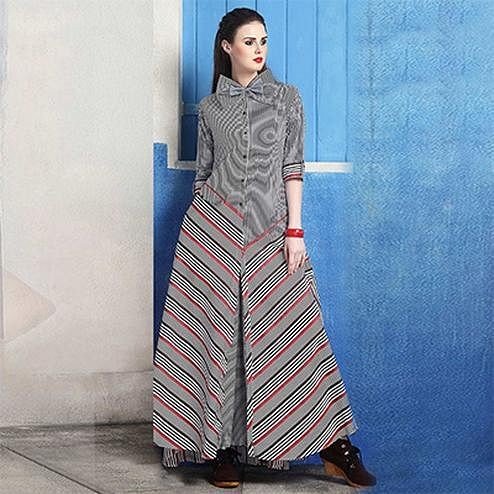 Demanding Grey Colored Striped Cotton Silk Kurti