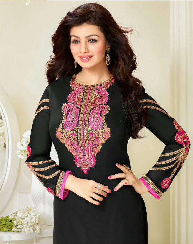 Black And Pink Georgette Embroidered Salwar Suit