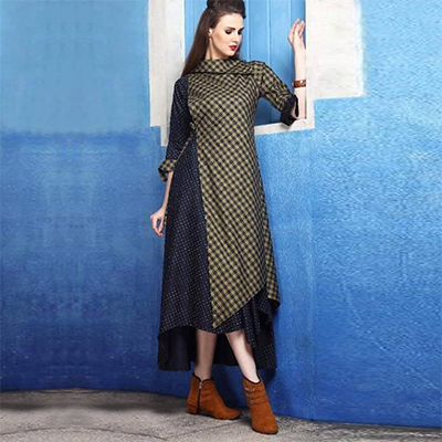Sophisticated Green Colored Checked Cotton Silk Kurti