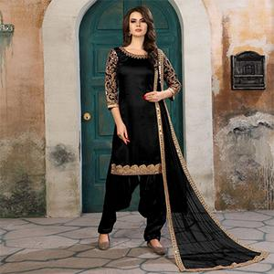Stylish Black Colored Partywear Embroidered Art Silk Salwar Suit