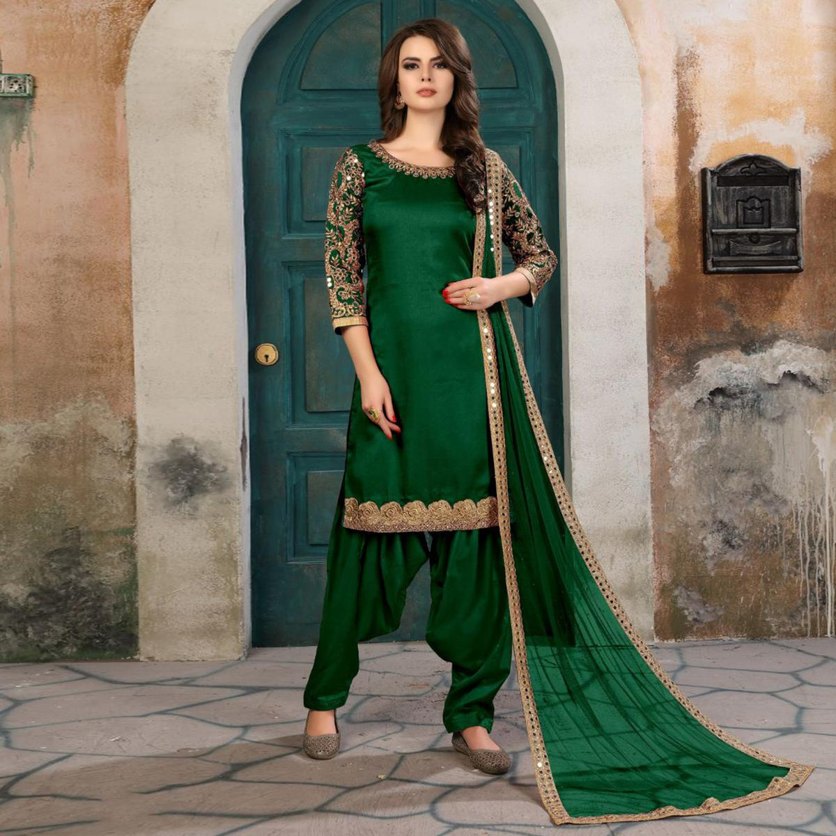Pretty Green Colored Partywear Embroidered Art Silk Salwar Suit