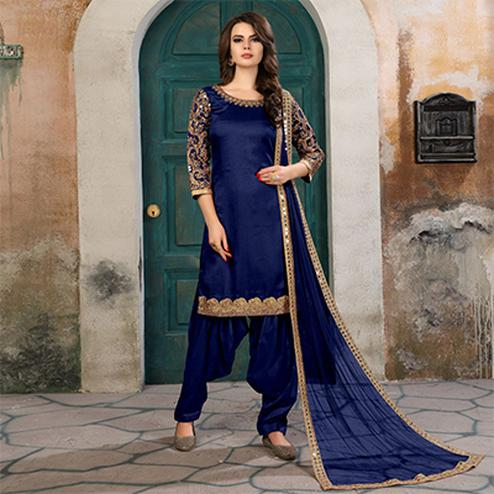 Mesmerising Navy Blue Colored Partywear Embroidered Art Silk Salwar Suit